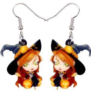 Jewelry - Ginger Witch Acrylic Earrings Halloween